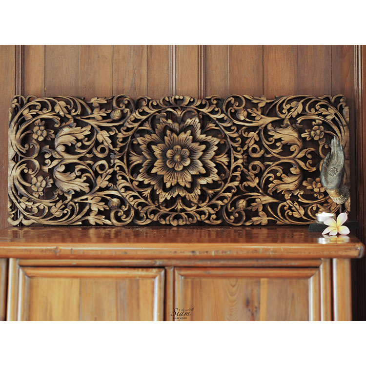Decorative Wall Art Panels : Buy hand carved lotus wall art panel online